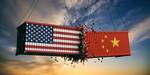 Symbol picture of trade war USA and China.